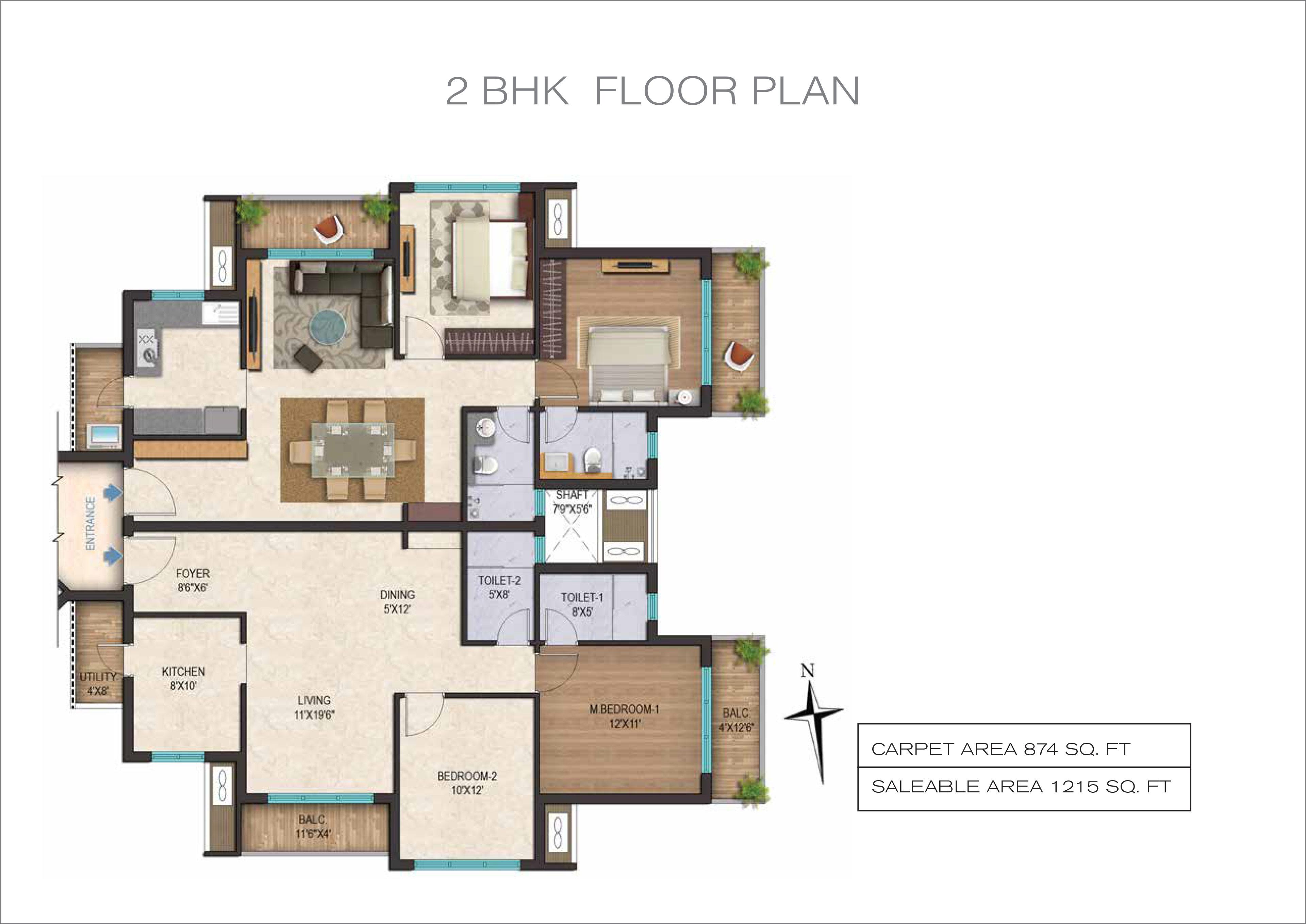 2 BHK, 2 5 BHK, 3 BHK Floor Plan of AF Tower - Metrozone