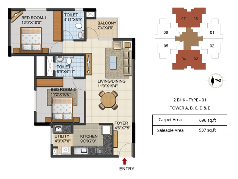 Urbana aqua 2 3 4 bhk luxury apartments floor plans 2 3 for 2bhk plan homes