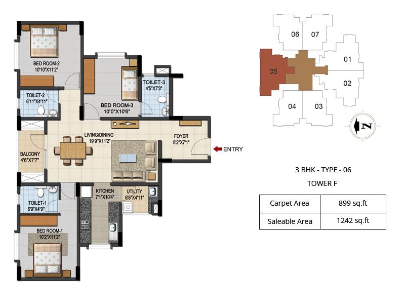 Urbana aqua 2 3 4 bhk luxury apartments floor plans 2 3 for 2 bhk apartment plan